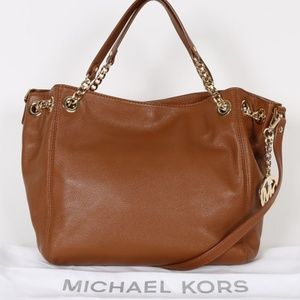 MICHAEL KORS Jet Set Chain Brown Leather Bag